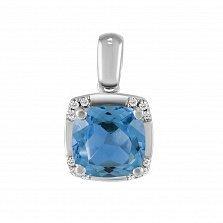 Кулон из белого золота Барселона с бриллиантами и голубым топазом