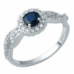 Серебряное кольцо Хиллари с сапфиром и фианитами