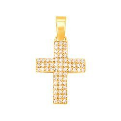 Декоративный крестик из желтого золота с фианитами 000130937