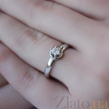 Золотое кольцо Аллен в белом цвете с бриллиантом 000046004