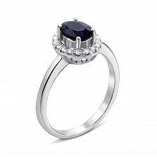 Серебряное кольцо с сапфиром и фианитами 000135308