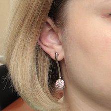 Серебряные пуссеты-подвески Васильки с розовой эмалью и цирконием