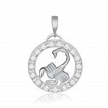Серебряный подвес с кристаллами циркония Скорпион