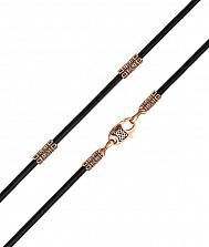 Ювелирный шнурок из золота и черной кожи Иберия