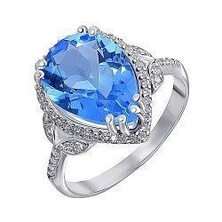 Серебряное кольцо с танзанитом и фианитами 000141193