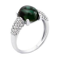 Серебряное кольцо с зеленым кварцем и инкрустацией из белых фианитов 000104727