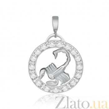 Серебряный подвес с кристаллами циркония Скорпион  000025312