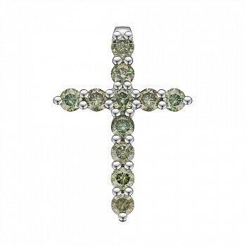 Крестик из белого золота с зелеными бриллиантами 0.53ct 000145338