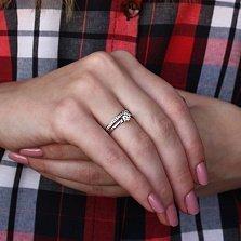 Золотое кольцо Виренея в белом цвете с фианитами