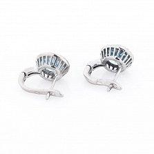 Серебряные серьги Асия с топазом и фианитами