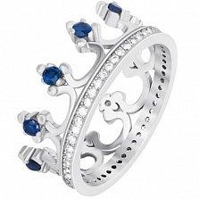Серебряное кольцо Монархия с синими фианитами