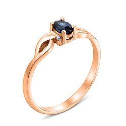 Кольцо из красного золота с сапфиром и бриллиантом 000131397