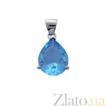 Серебряный кулон с голубым цирконием AQA--230530073/9T