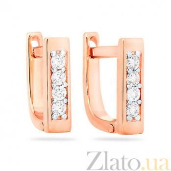 Золотые серьги с цирконием Алиса SUF--110361