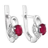 Серебряные серьги с рубином  Азон