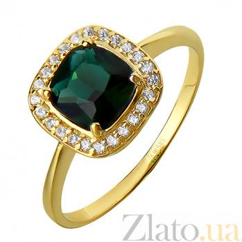 Золотое кольцо с зеленым кварцем Алия PTL--2к734/06