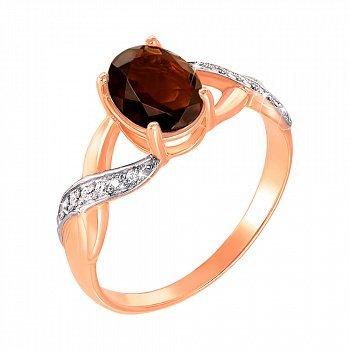 Золотое кольцо в комбинированном цвете с раухтопазом и фианитами 000117199
