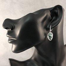 Серебряные серьги-подвески Рихарт с синтезированным кварцем мятного цвета и белыми фианитами