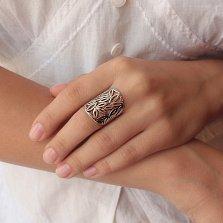 Серебряное ажурное кольцо Лиственный узор