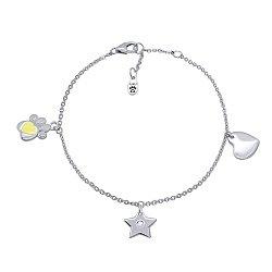 Серебряный браслет Лапка с сердцем, желтой эмалью и подвесками,10х10 мм