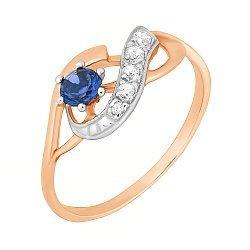 Серебряное кольцо с позолотой, синим и белыми фианитами 000028219