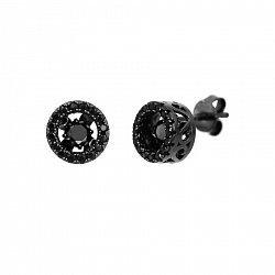 Серебряные серьги-пуссеты в черном цвете с черными фианитами 000091628