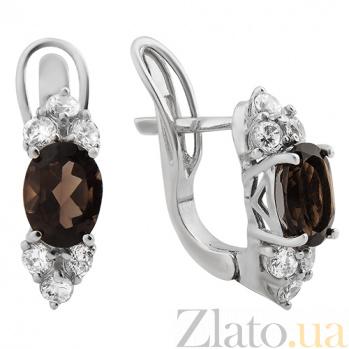 Серебряные серьги Рания с дымчатым кварцем и цирконием 000023972