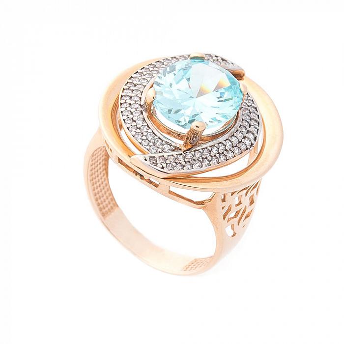Дизайнерский перстень Будапешт с узорным кастом и фианитами 000082313