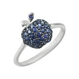 Золотое кольцо с сапфирами и бриллиантами Яблочная фантазия