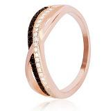 Серебряное кольцо Домино с черными и белыми фианитами