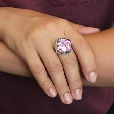 Серебряное кольцо Эликсир с имитацией опала в голубо-розовой гамме