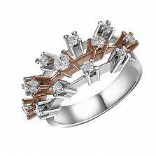 Кольцо из комбинированного золота Ронда с тремя дорожками бриллиантов