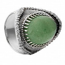 Серебряное кольцо Кения с авантюрином и фианитами
