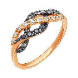 Золотое кольцо в комбинированном цвете с бриллиантами 000139414