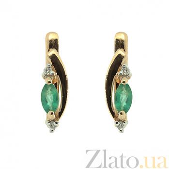 Золотые серьги с бриллиантами и изумрудами Фаина ZMX--EDE-5571_K