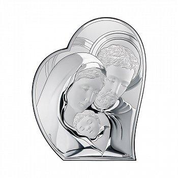 Серебряная икона Святое Семейство на деревянной основе 000137823