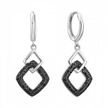 Серебряные серьги-подвески с фианитами 000132649