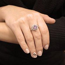 Серебряное кольцо Азиза с аметистом и фианитами
