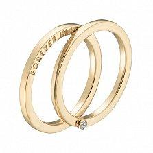 Кольцо в желтом золоте Вечная любовь с бриллиантом