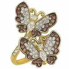 Кольцо из желтого золота с фианитами Весенние бабочки