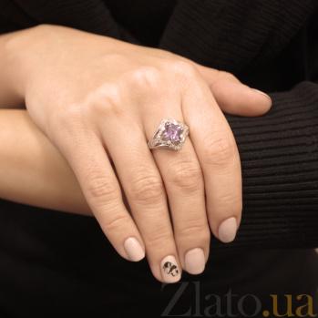 Серебряное кольцо Азиза с аметистом и фианитами 000079769