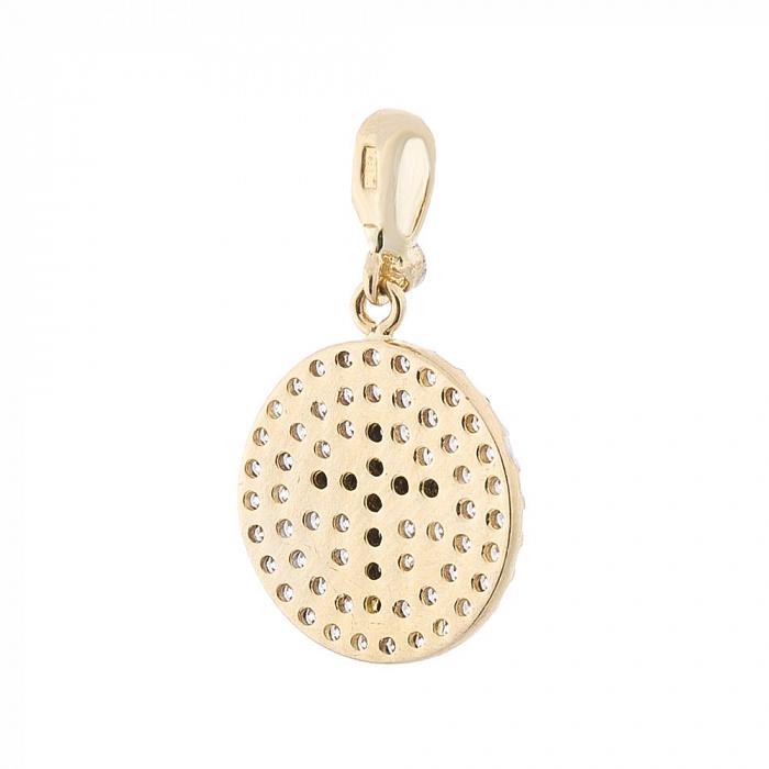 Золотой медальон Королева Марго в желтом цвете с белыми и черными фианитами 000082500