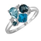 Кольцо Синева из белого золота с бриллиантами и топазами
