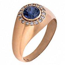 Мужское кольцо с сапфиром и бриллиантами Сатурн