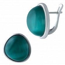 Серебряные серьги Вероника с зеленым кошачьим глазом