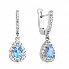 Серебряные серьги-подвески Анабелла с голубым топазом и фианитами