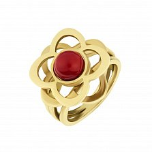 Золотое кольцо Драгоценная магнолия с красным кораллом