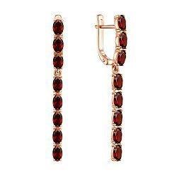 Серьги-подвески из красного золота с гранатами 000137466