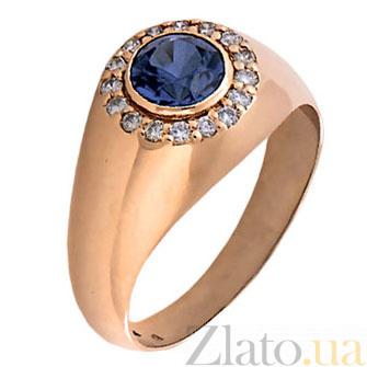 Мужское кольцо с сапфиром и бриллиантами Сатурн KBL--К1564/крас/сапф
