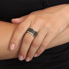 Серебряное кольцо Мемфис с черными фианитами